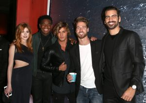 LOS ANGELES, CA - NOVEMBER 29: (L-R) Actress Katherine McNamara, actor Dexter Darden, Bryant Wood, model Travis Deslaurier and model Nyle DiMarco attend An Evening with Nyle DiMarco at the Sofitel Los Angeles At Beverly Hills on November 29, 2016 in Los Angeles, California. (Photo by Tasia Wells/WireImage)