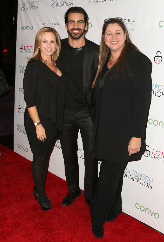 LOS ANGELES, CA - NOVEMBER 29: (L-R) Actress Marlee Matlin, model Nyle DiMarco and actress Camryn Manheim attend An Evening with Nyle DiMarco at the Sofitel Los Angeles At Beverly Hills on November 29, 2016 in Los Angeles, California.  (Photo by Tasia Wells/WireImage)