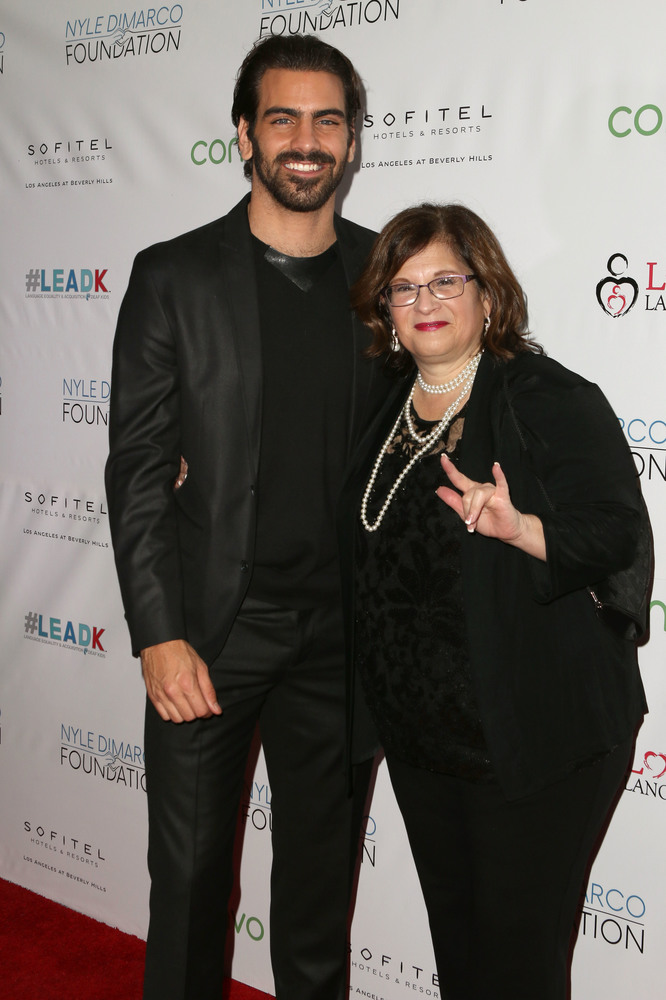 LOS ANGELES, CA - NOVEMBER 29: Model Nyle DiMarco (L) and Sheri Farinha attend An Evening with Nyle DiMarco at the Sofitel Los Angeles At Beverly Hills on November 29, 2016 in Los Angeles, California.  (Photo by Tasia Wells/WireImage)
