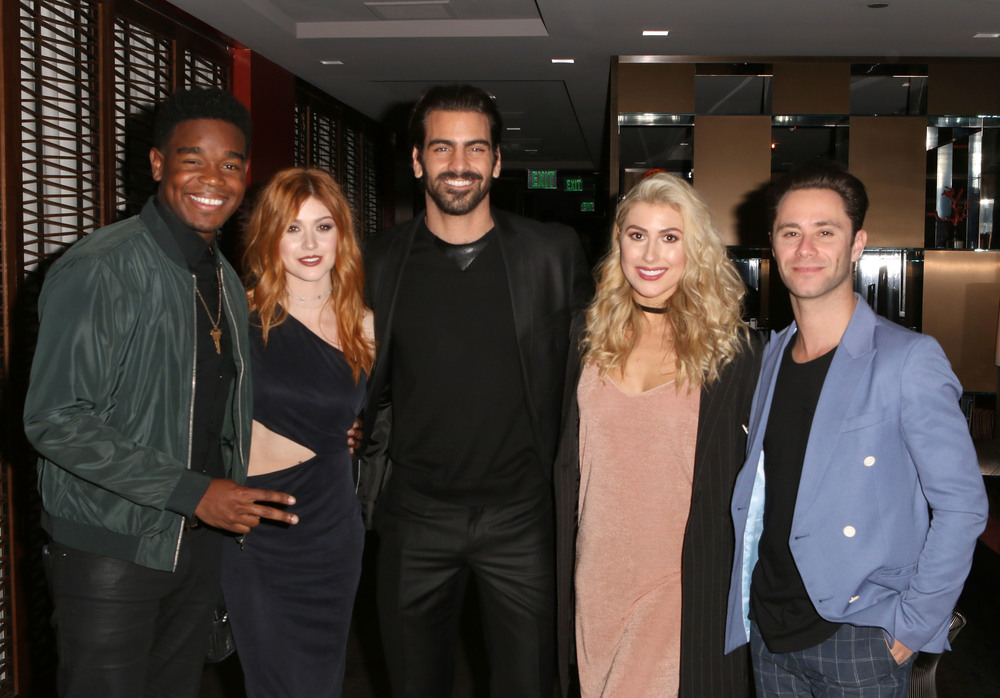 LOS ANGELES, CA - NOVEMBER 29: (L-R) Actor Dexter Darden, actress Katherine McNamara, model Nyle DiMarco, dancer Emma Slater and dancer Sasha Farber attend An Evening with Nyle DiMarco at the Sofitel Los Angeles At Beverly Hills on November 29, 2016 in Los Angeles, California.  (Photo by Tasia Wells/WireImage)