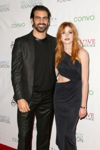 LOS ANGELES, CA - NOVEMBER 29: Model Nyle DiMarco (L) and actress Katherine McNamara attend An Evening with Nyle DiMarco at the Sofitel Los Angeles At Beverly Hills on November 29, 2016 in Los Angeles, California. (Photo by Tasia Wells/WireImage)