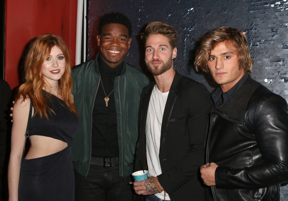 LOS ANGELES, CA - NOVEMBER 29:  (L-R) Actress Katherine McNamara, actor Dexter Darden, model Travis Deslaurier and Bryant Wood attend An Evening with Nyle DiMarco at the Sofitel Los Angeles At Beverly Hills on November 29, 2016 in Los Angeles, California.  (Photo by Tasia Wells/WireImage)