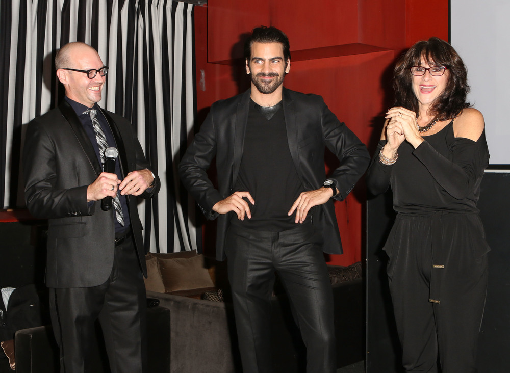 LOS ANGELES, CA - NOVEMBER 29:  (L-R) Ramon Norrod model Nyle DiMarco and Donna DiMarco onstage at An Evening with Nyle DiMarco at the Sofitel Los Angeles At Beverly Hills on November 29, 2016 in Los Angeles, California.  (Photo by Tasia Wells/WireImage)